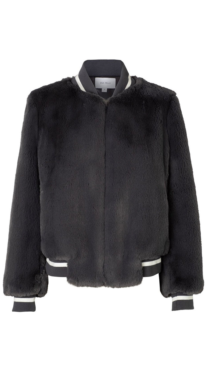 Essential Faux Fur Bomber - Charcoal