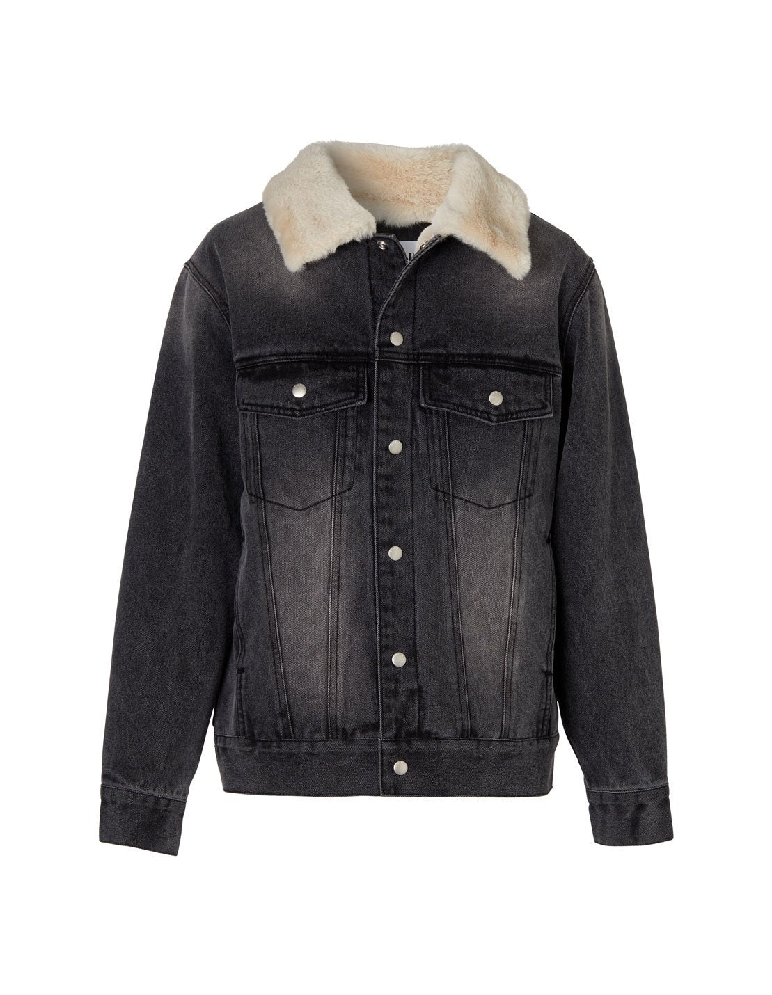 Denim Faux Fur Jacket - Stone Wash