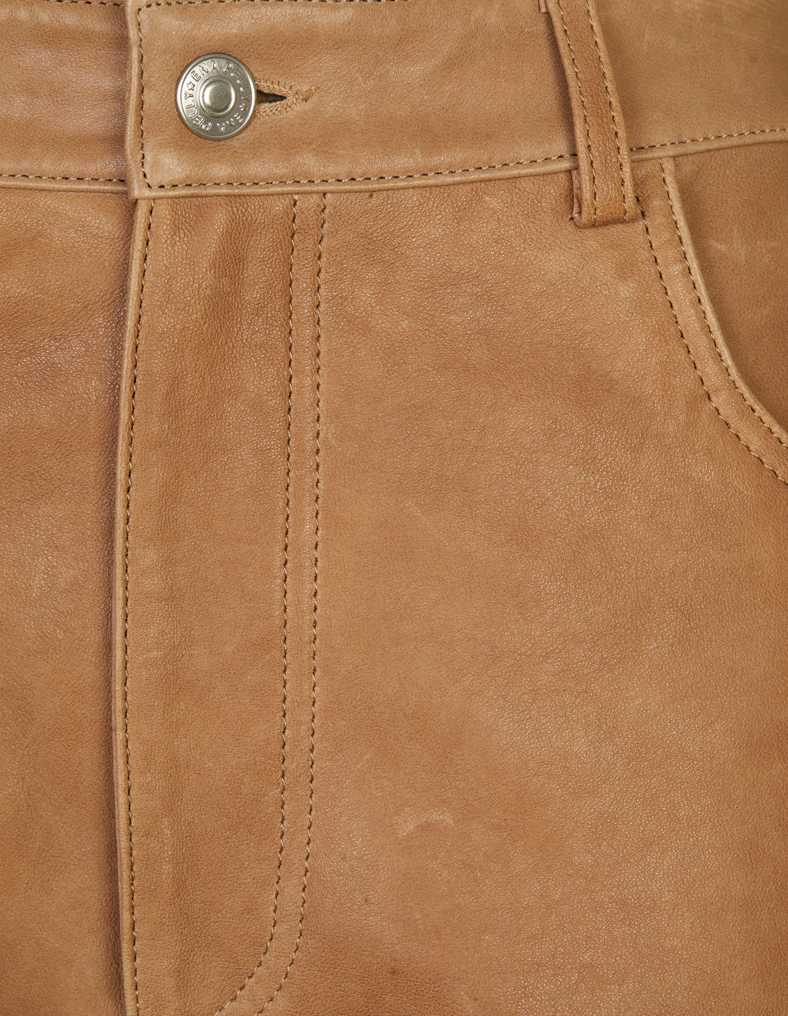 Straight Leg Leather Pant - Tigers Eye