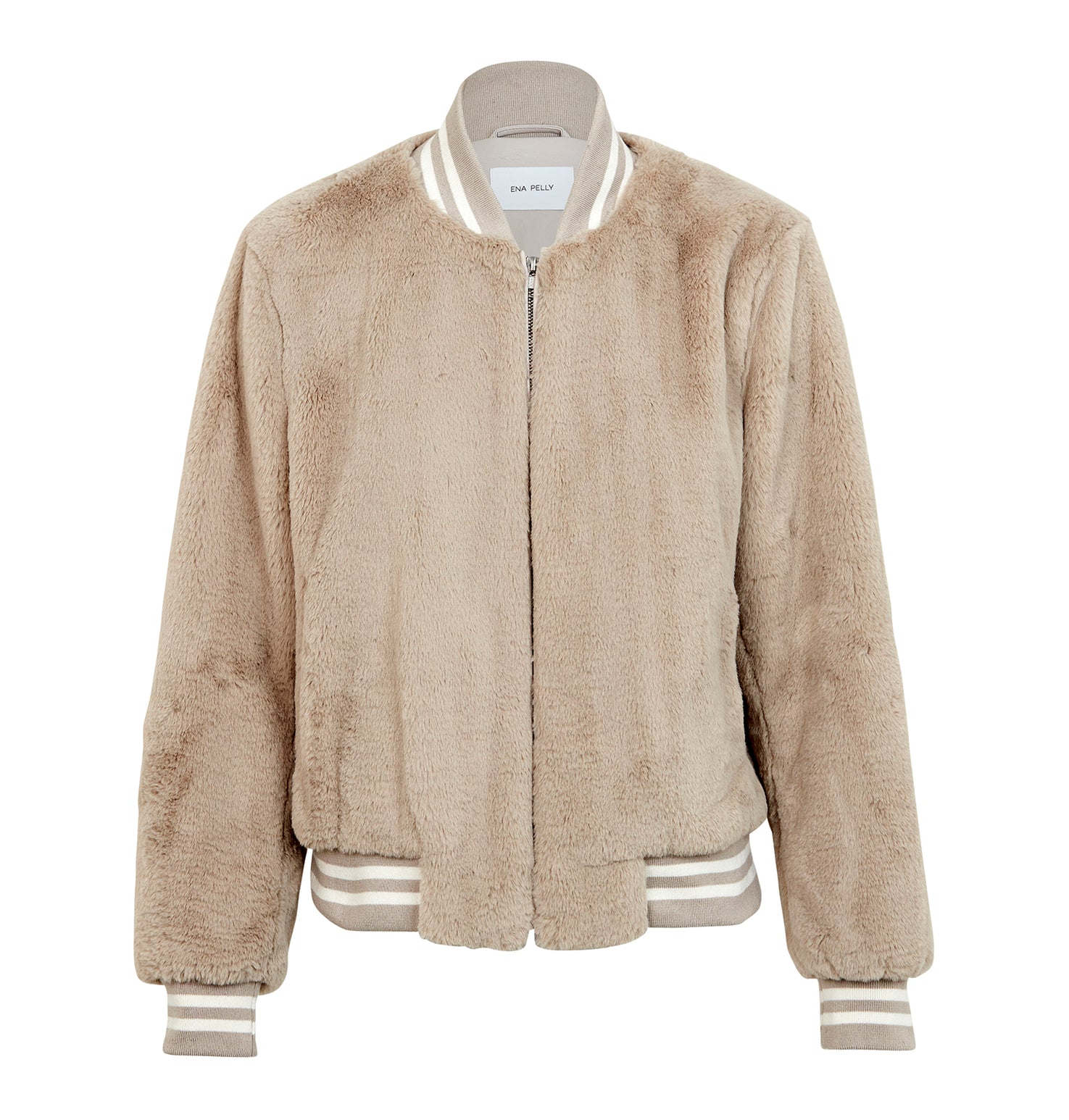 Essential Faux Fur Bomber Jacket - Oatmeal