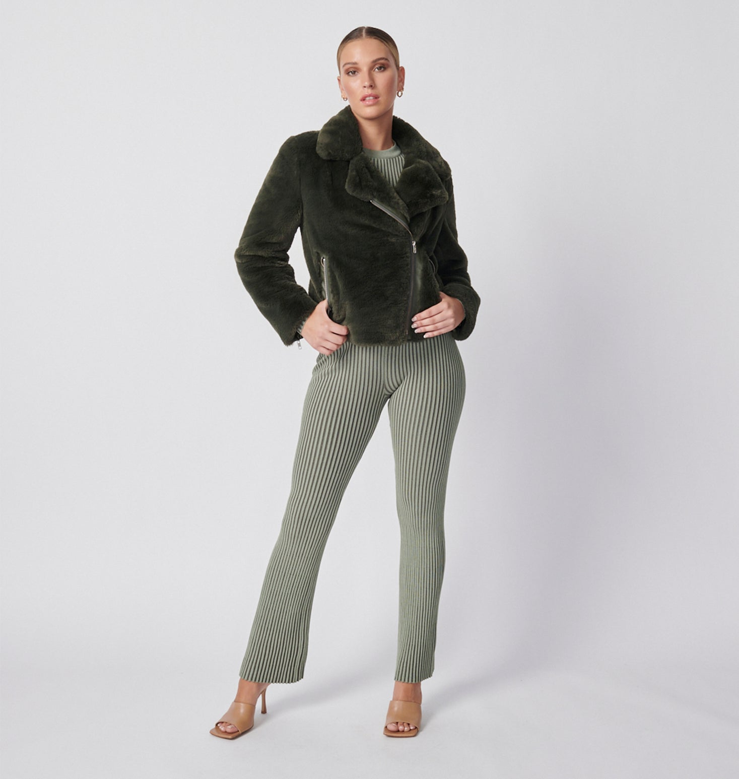 Classic Faux Fur Jacket - Forest Green