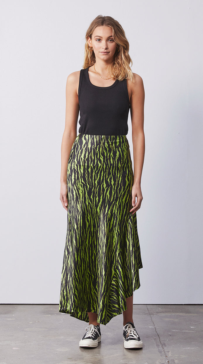 Asymmetrical Slip Skirt - Animal Print Green