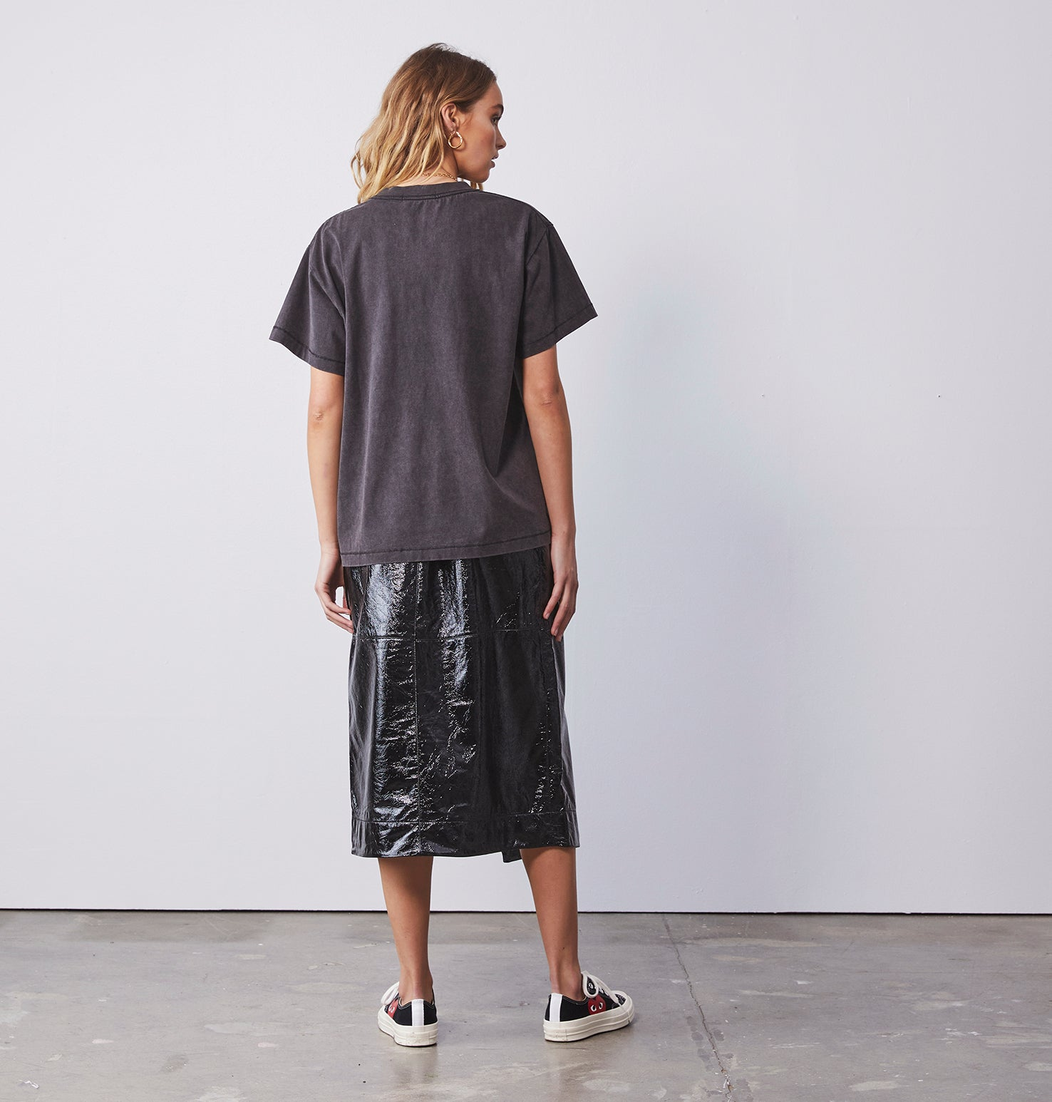Ava Long Line Skirt - Black