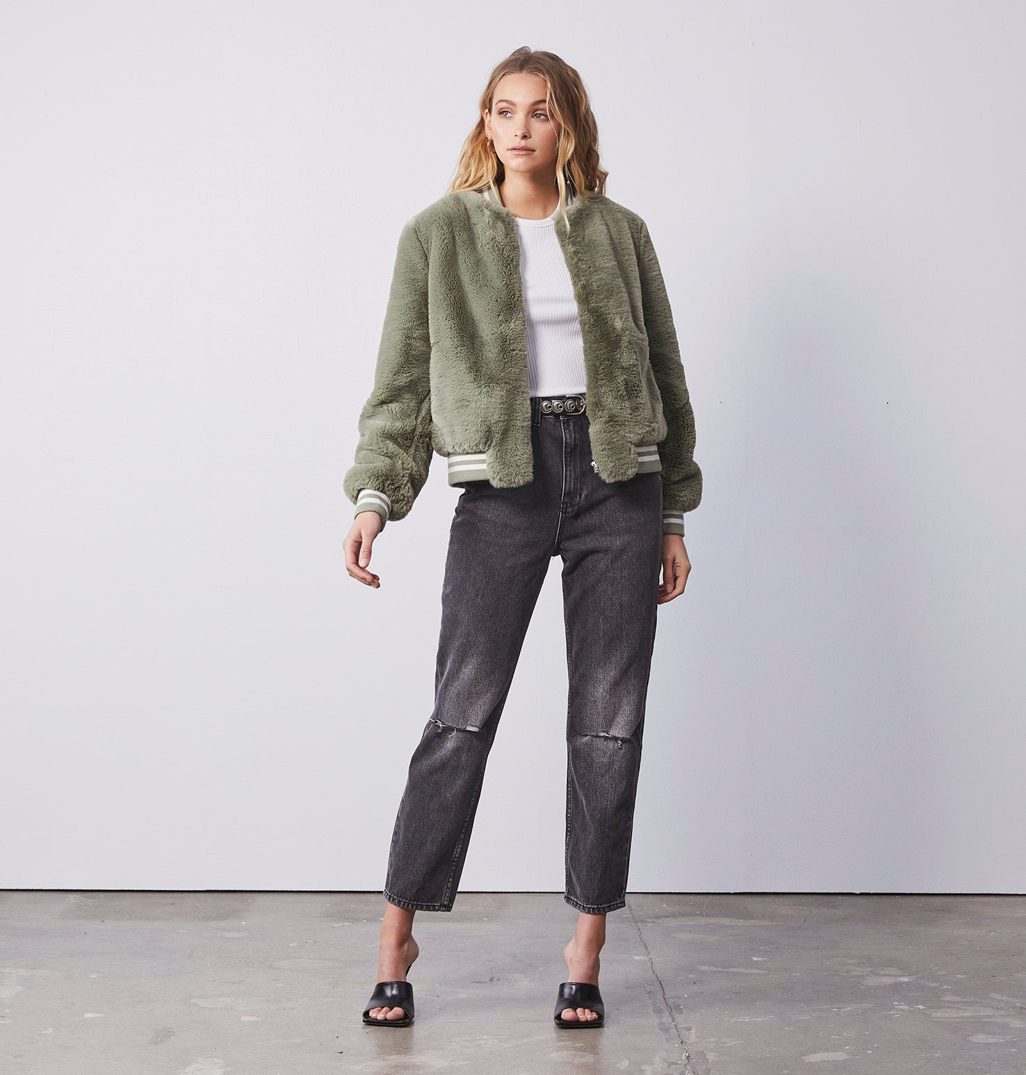 Essential Faux Fur Bomber Jacket - Sage