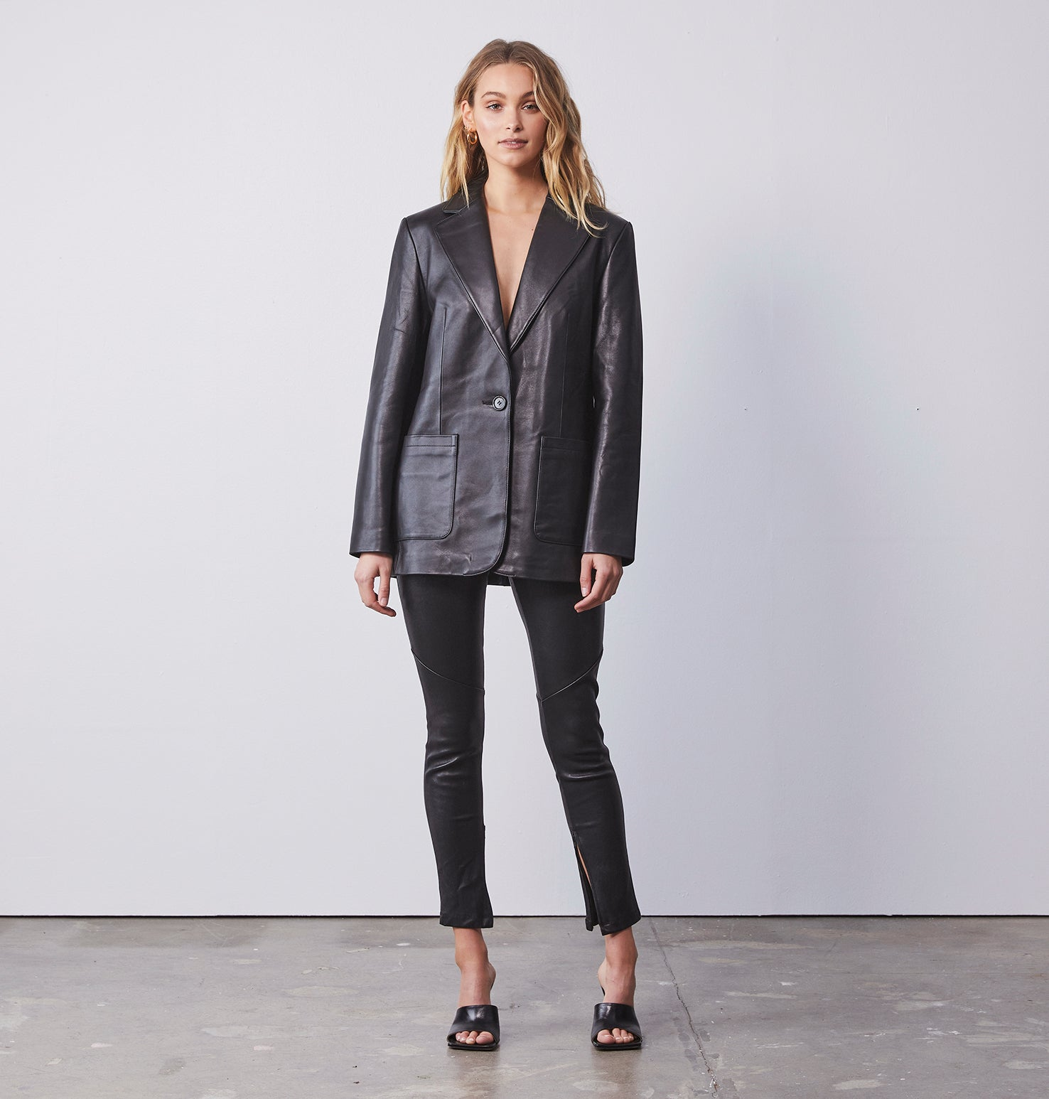 Oversized Leather Blazer - Black