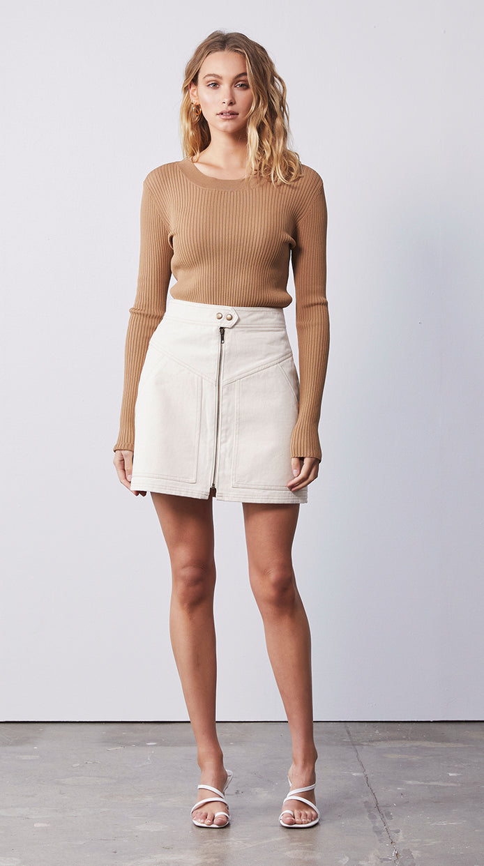 Olsen Knit Long Sleeve Top - Sand