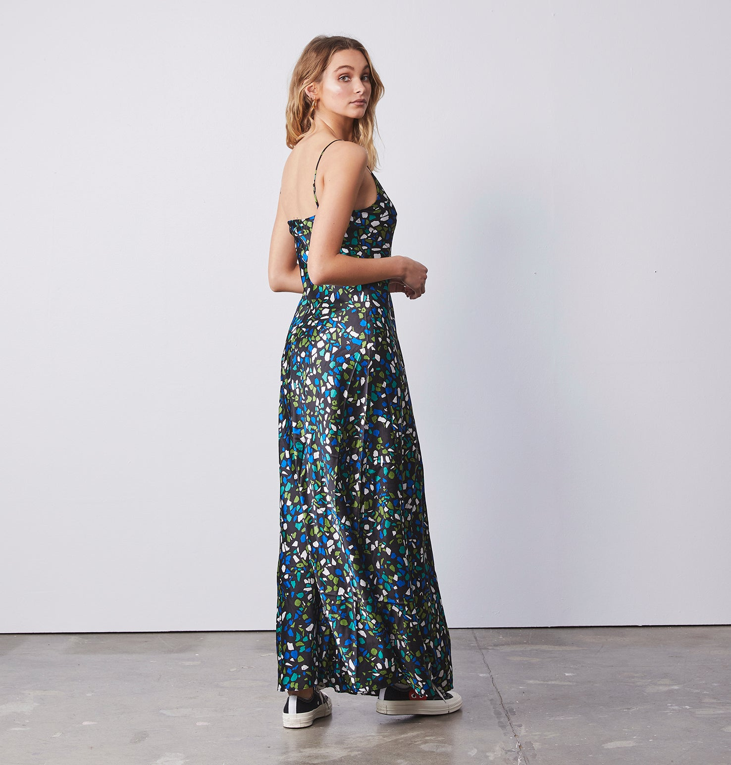 Clare Slip Long Dress - Terrazzo Blue/Green