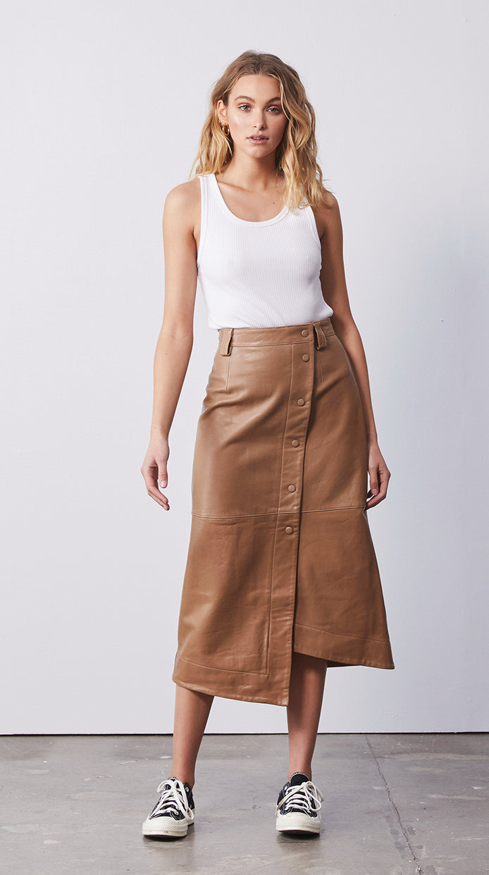 Ava Long Line Skirt - Tigers Eye