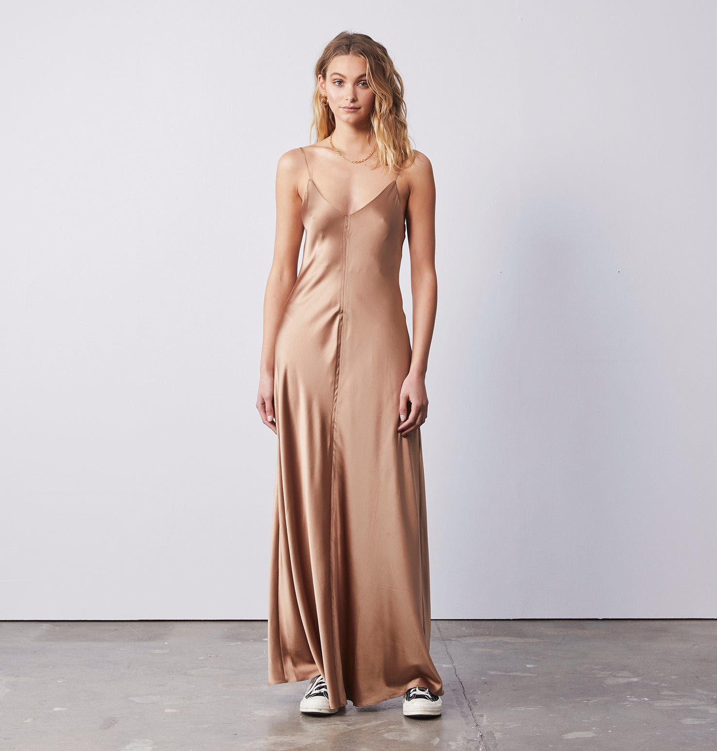 Clare Slip Long Dress - Tigers Eye