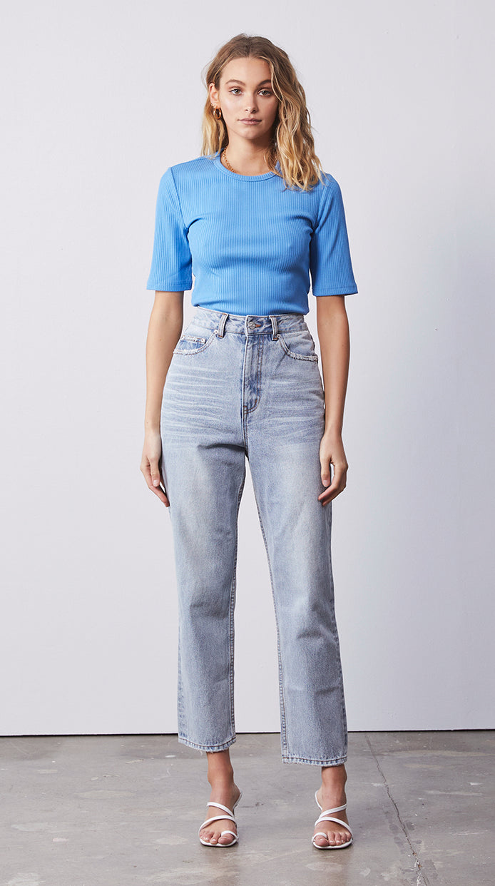 Short Sleeve Rib Top - Electric Blue