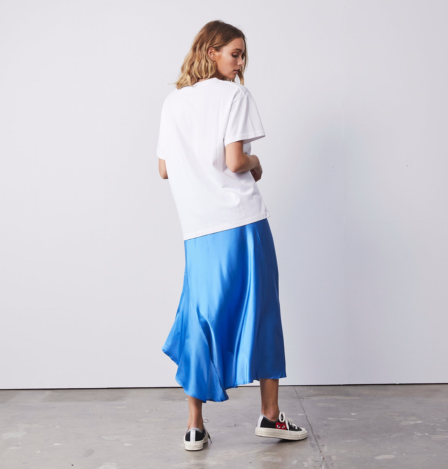 Asymmetrical Slip Skirt - Electric Blue