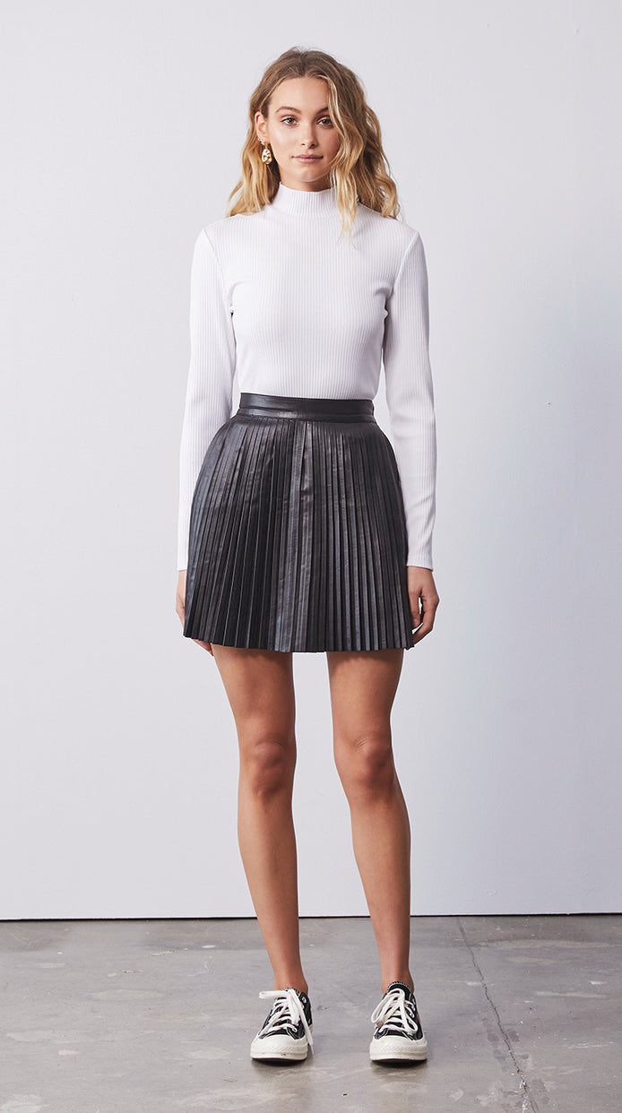 Pleated Leather Skirt - Black