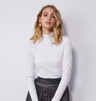 Long Sleeve Rib Top - White