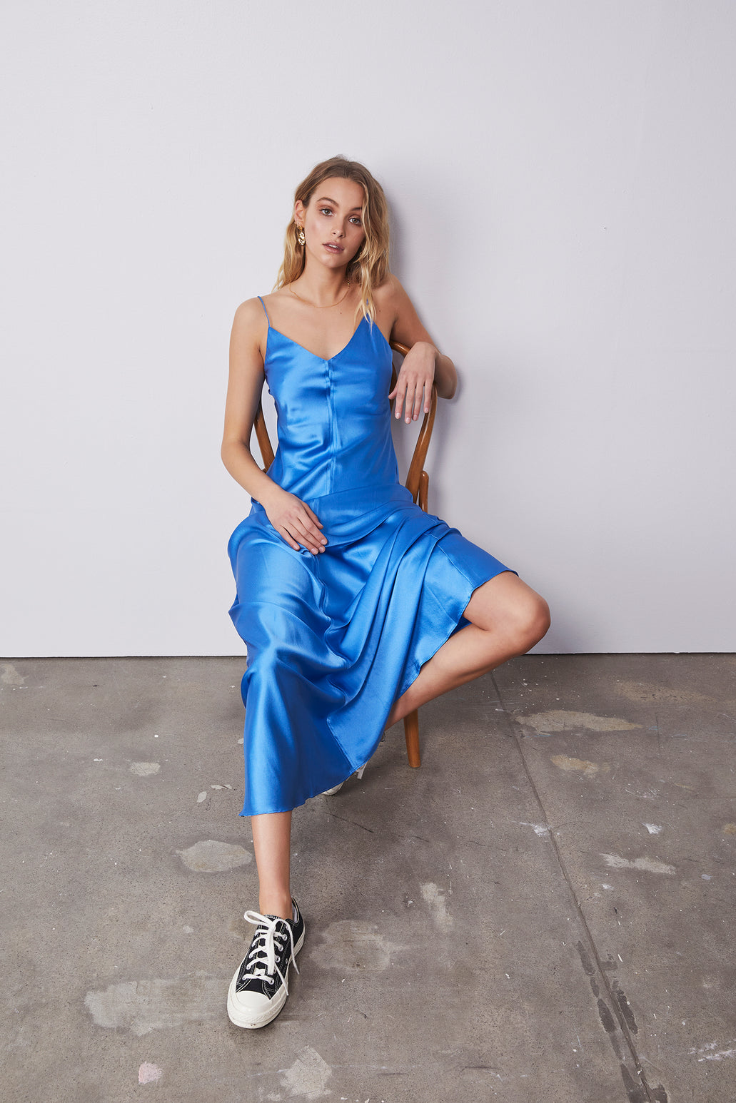 Clare Slip Long Dress - Electric Blue