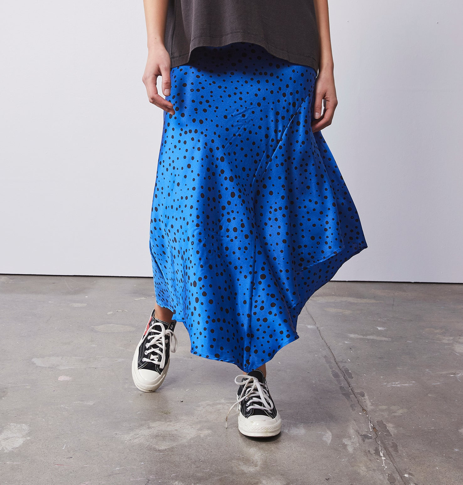 Asymmetrical Slip Skirt - Polka Dot Blue