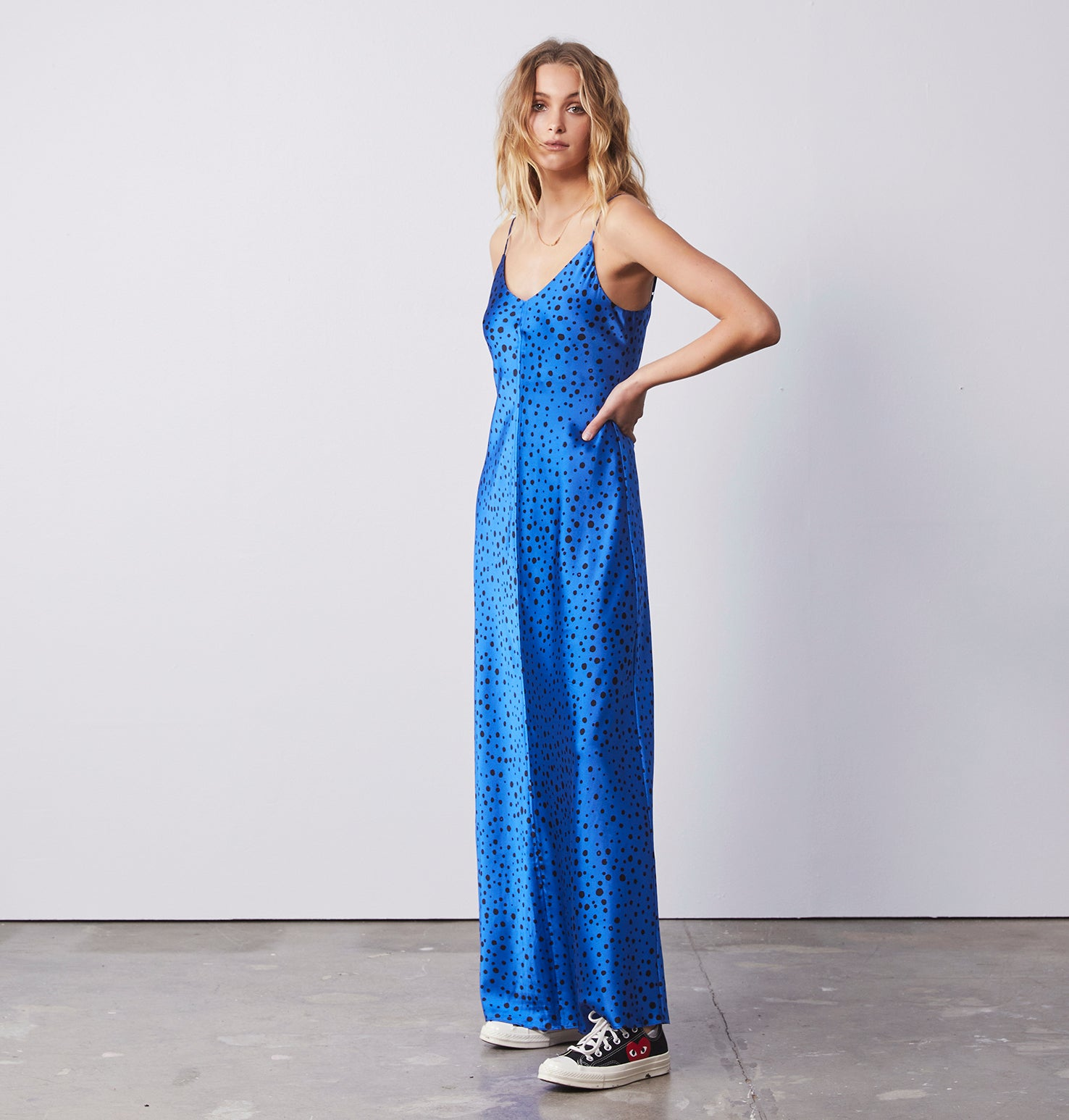Clare Slip Long Dress - Polka Dot Blue