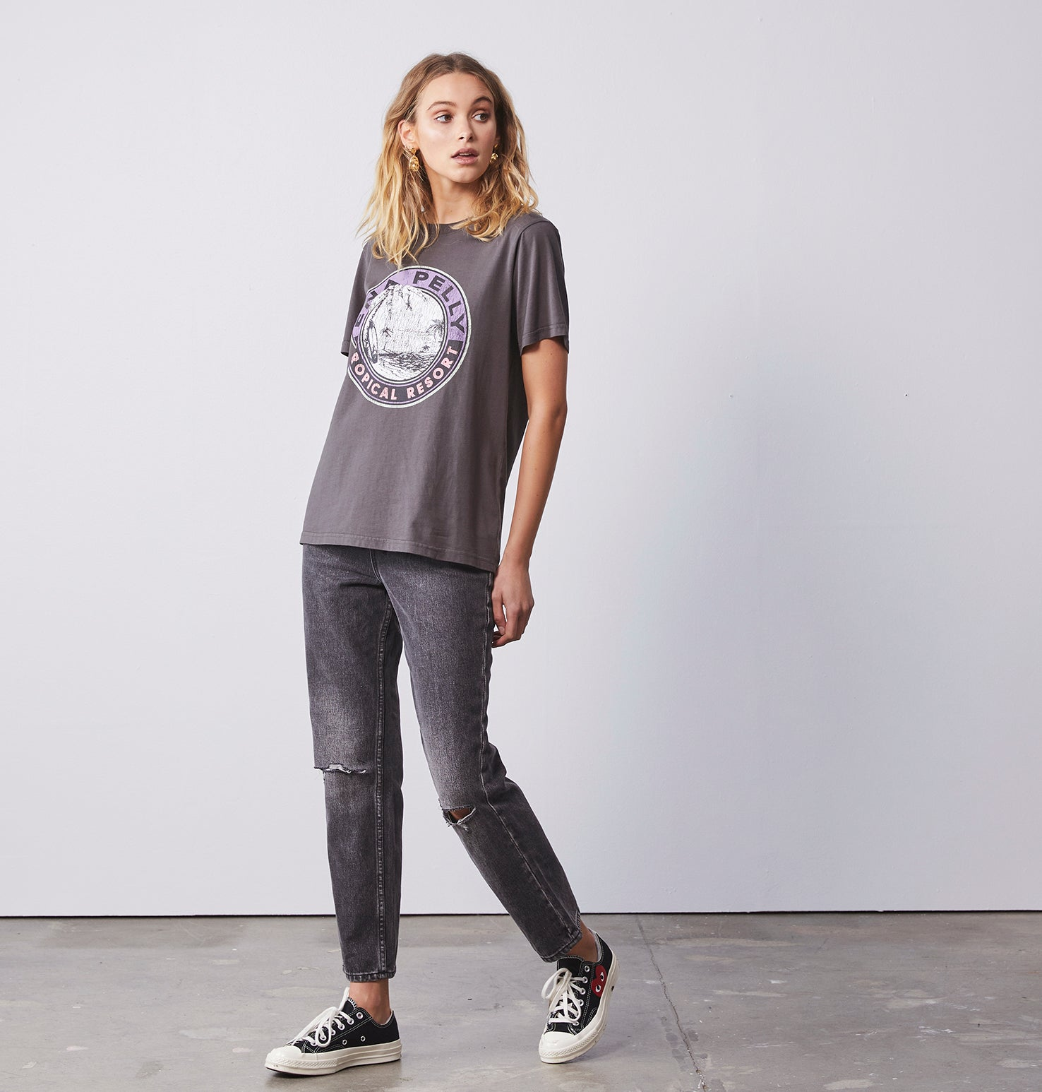 Tropical Resort Graphic Tee - Faded Black