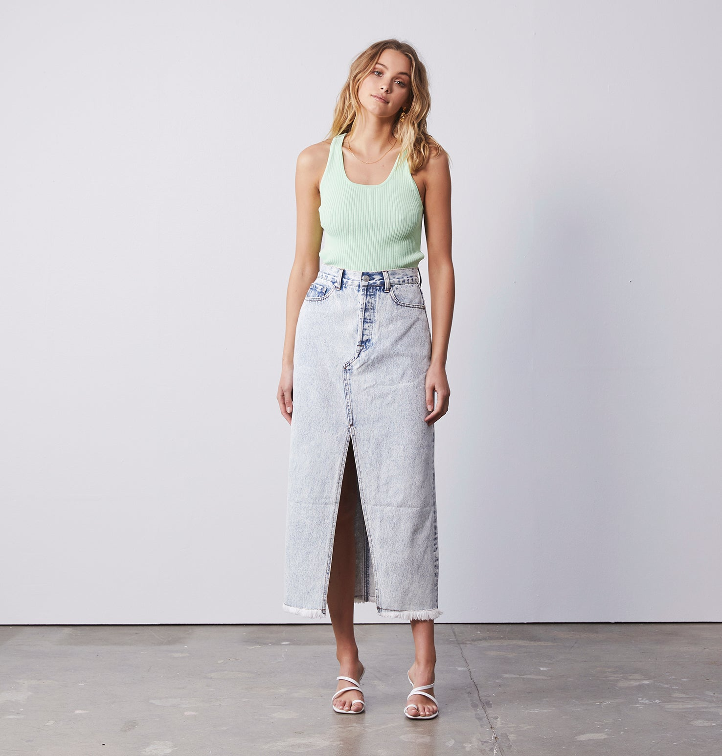 Olsen Knit Cropped Tank - Pastel Green