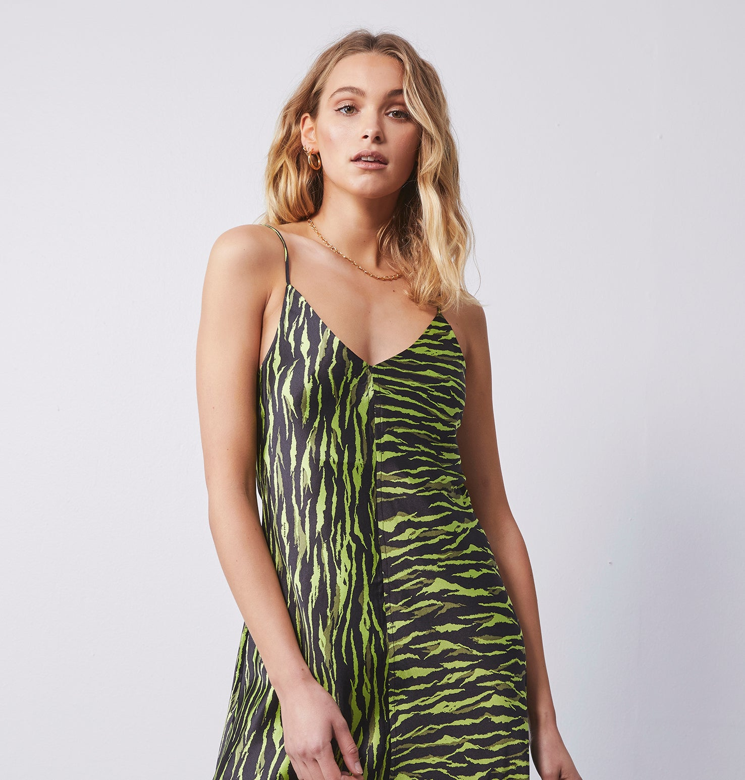 Clare Slip Long Dress - Animal Print Green