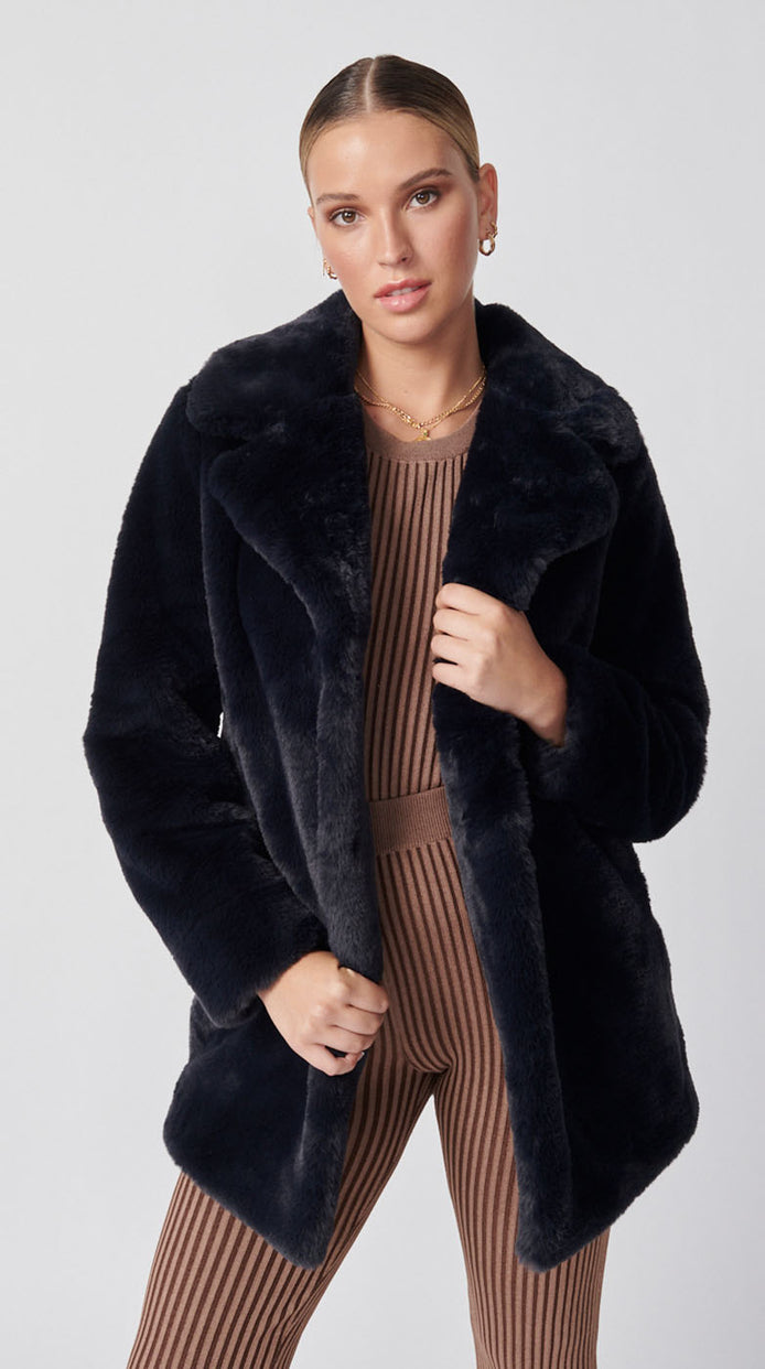 Minimalist Faux Fur Jacket - Navy