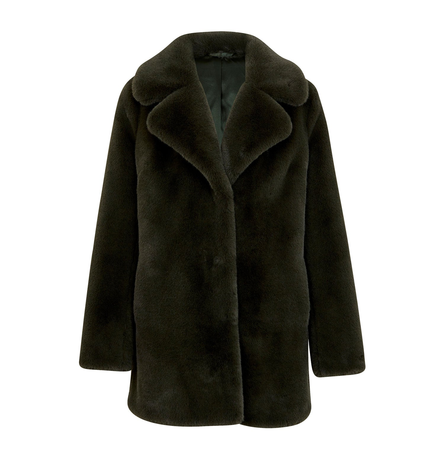 Minimalist Faux Fur Jacket - Forest Green