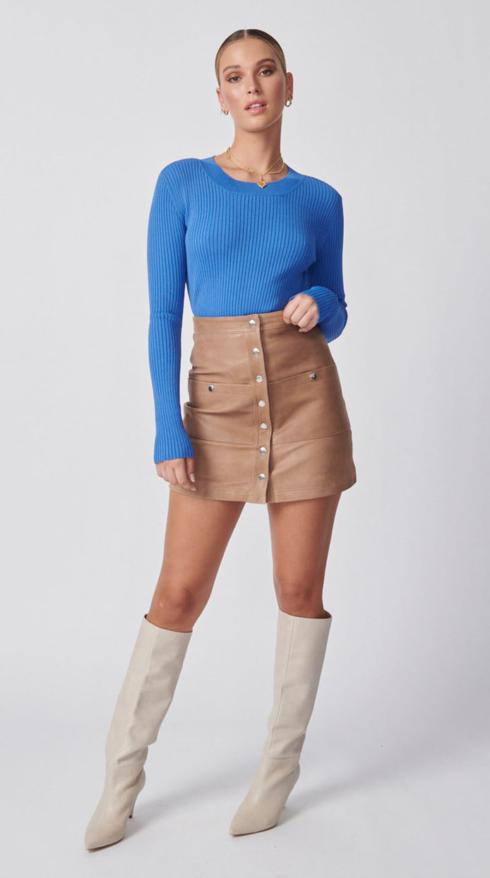 Olsen Ribbed Long Sleeve Top - Royal Blue