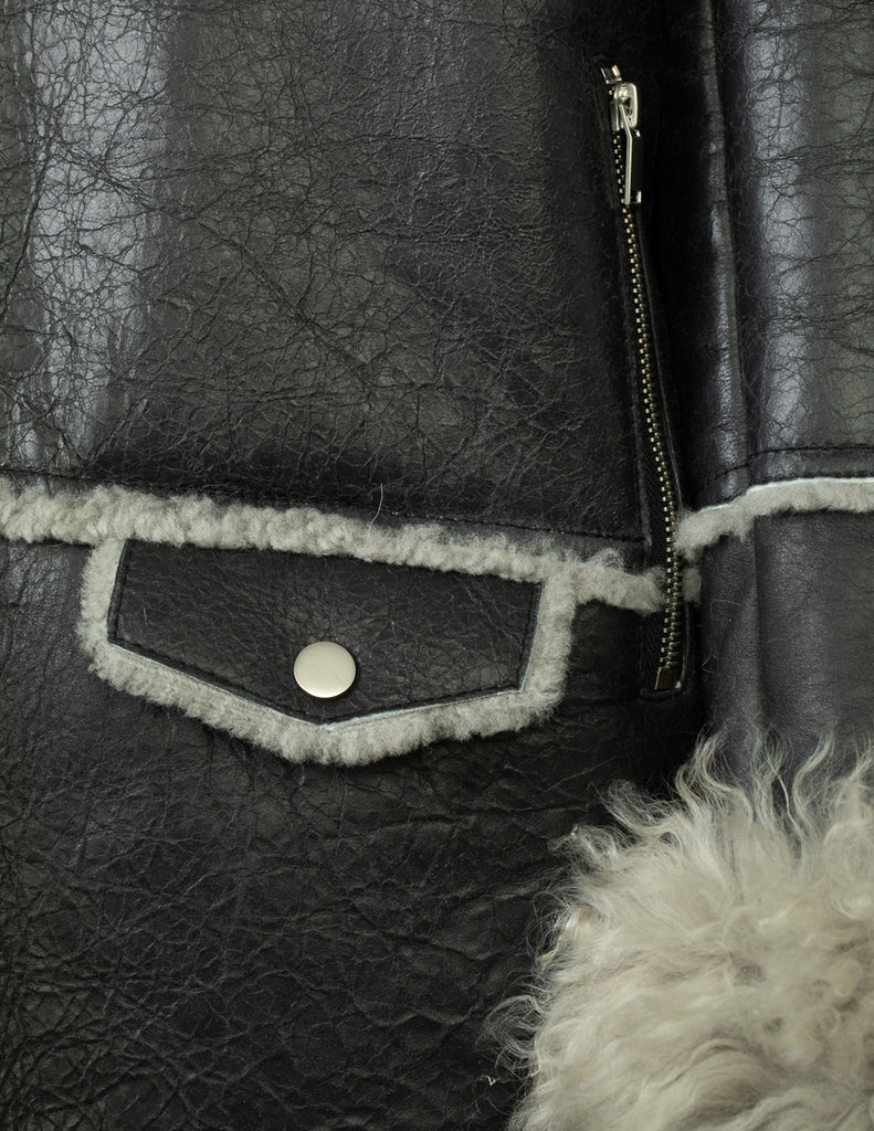 PATENT SHEARLING JACKET