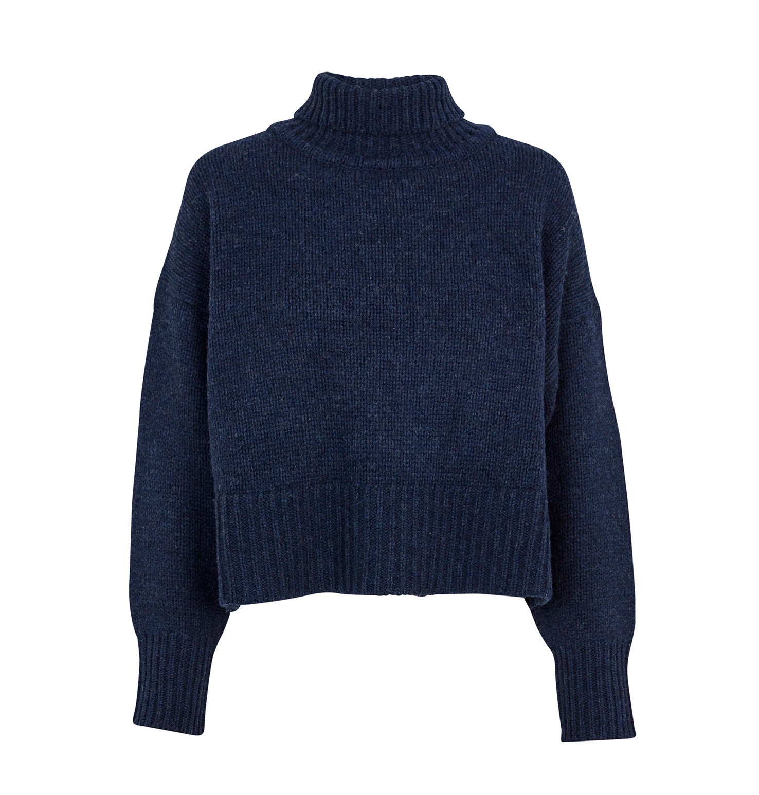 Turtle Neck Cropped Knit - Navy