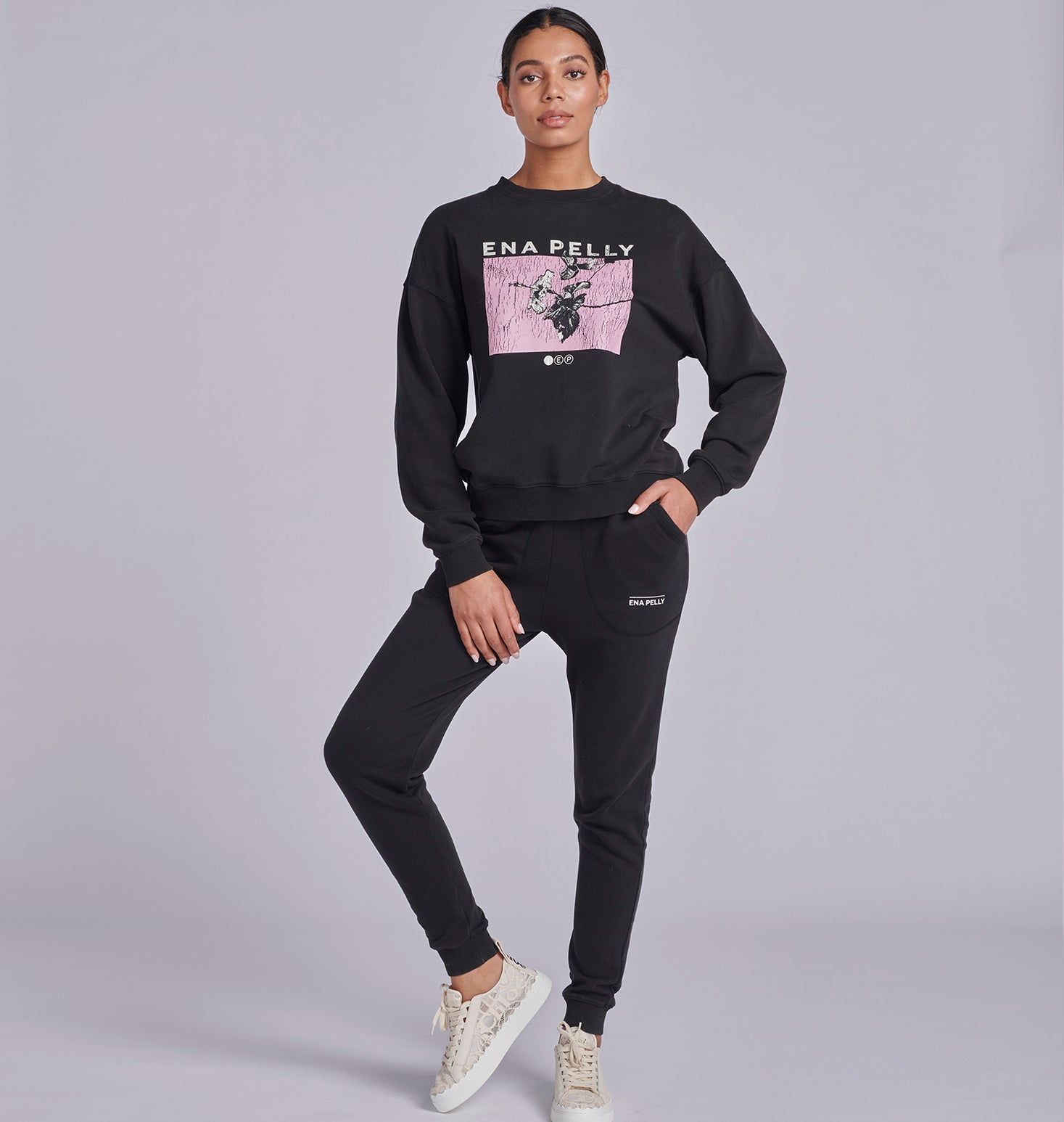 Block Floral Sweatshirt - Washed Black