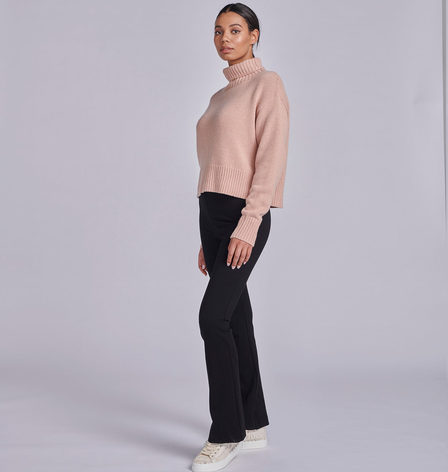 Cropped Roll Neck Knit - Rose