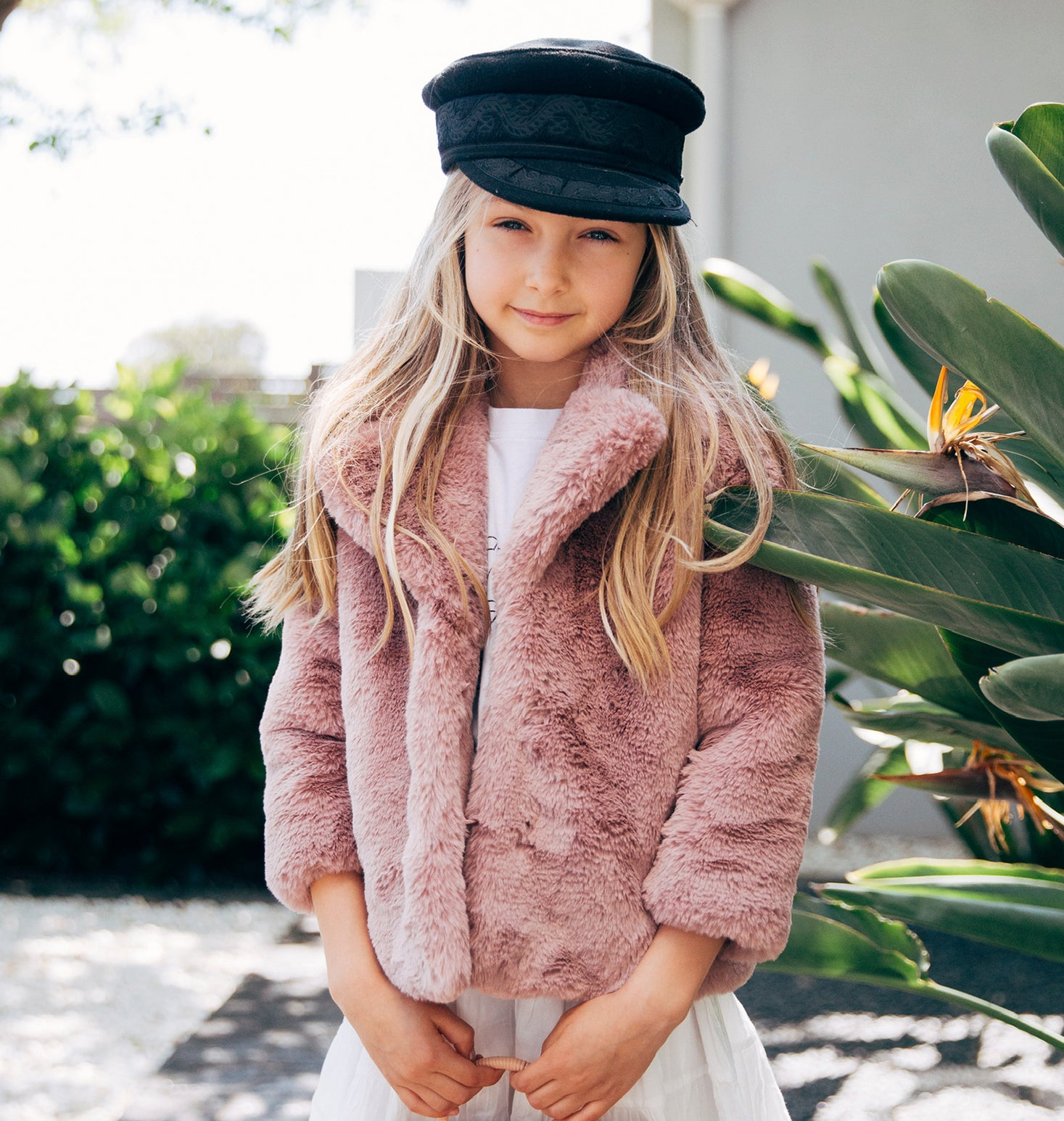 Kids - Minimalist Faux Fur Jacket - Rose