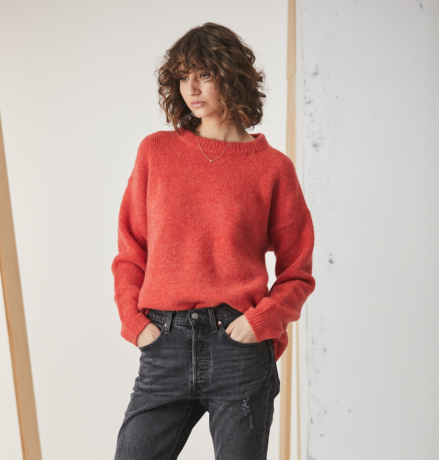 Mohair Blend Knit - Coral