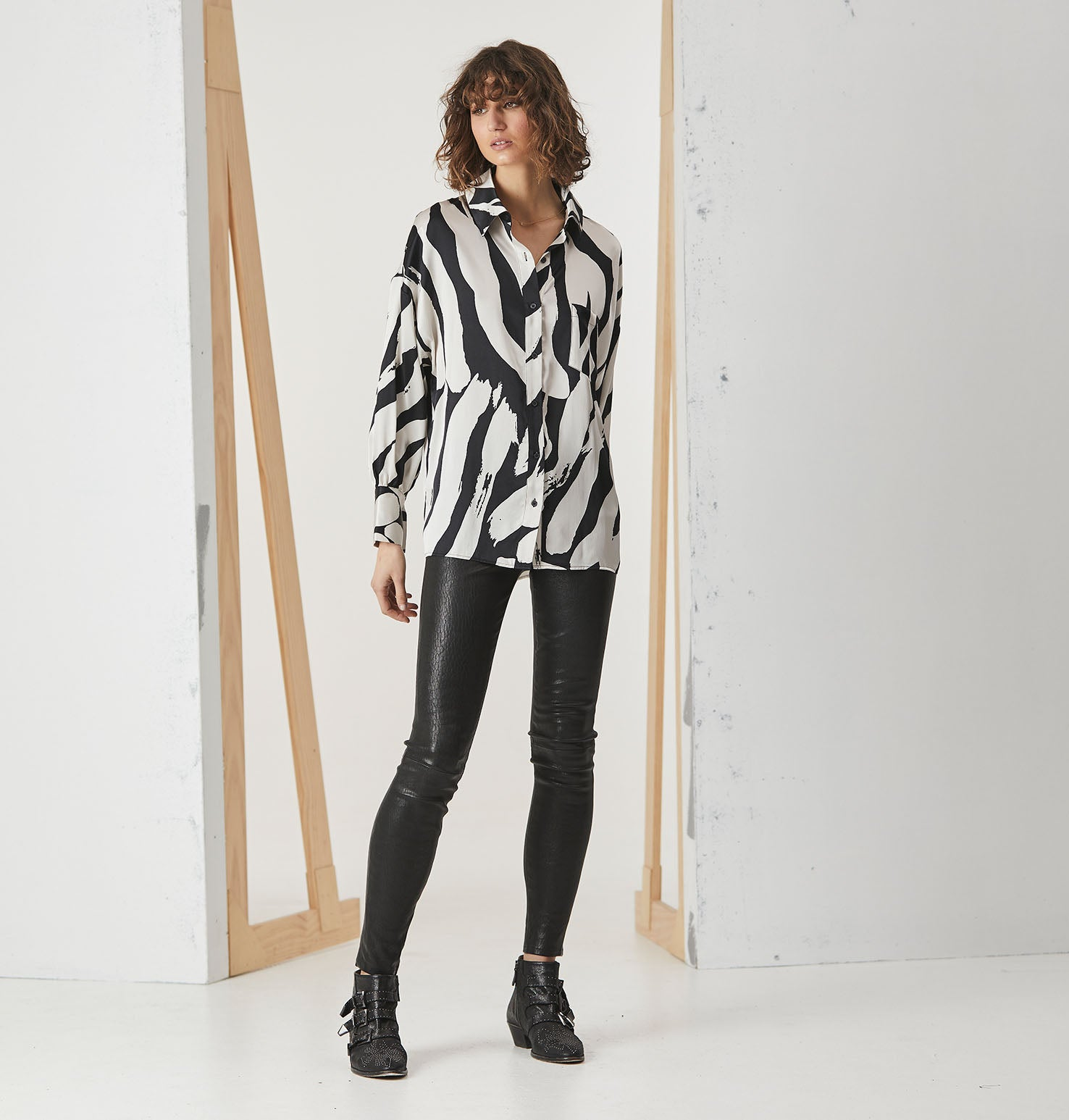 Cuffed Silk Shirt - Zebra