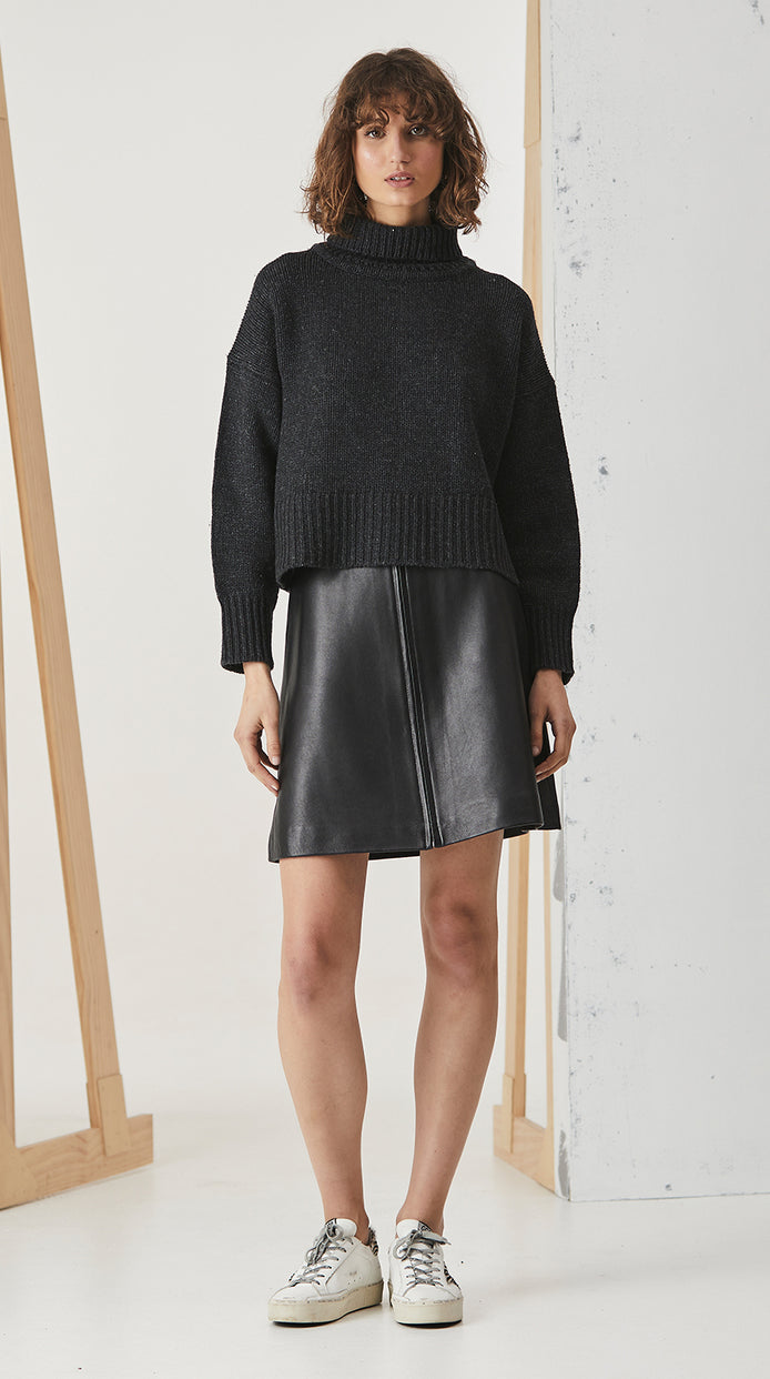 Turtle Neck Cropped Knit - Charcoal