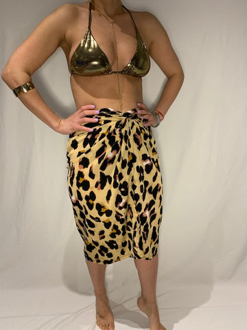 3/4 Length Leopard wrap skirt