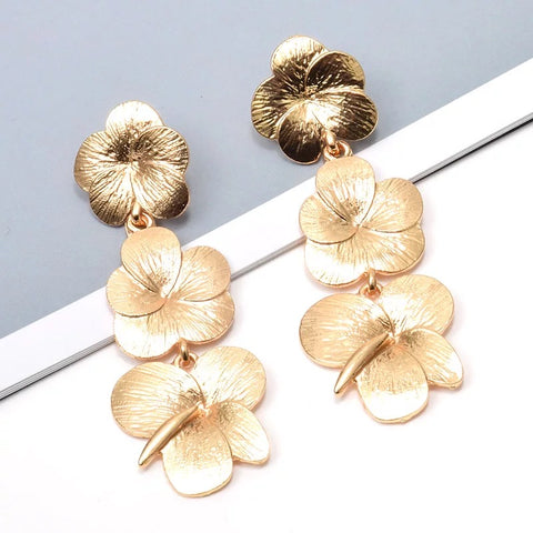 3 Flower Drop earrings