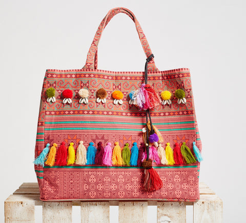 Boho Beach Bag Inca Red