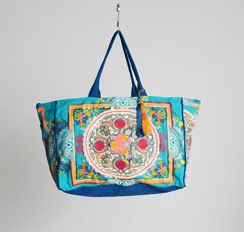 Boho Beach Bag Petrol
