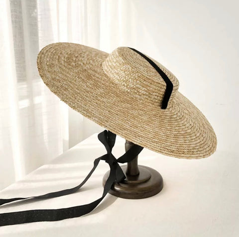 Raffia Wide Brim Sun Hat with Ribbon