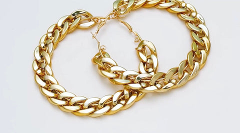 Large chain hoop earrings