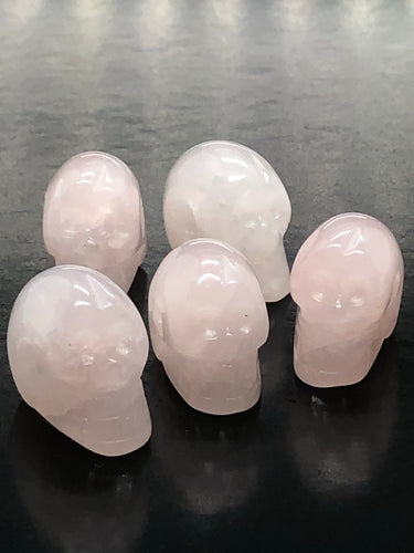 Mini Rose Quartz Skulls (pendants)  ~ ascension & light work