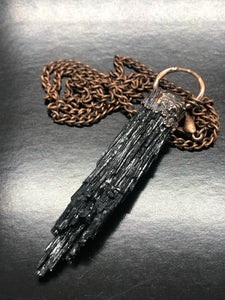 Black Tourmaline, Copper Necklace ~ transmutes lower level energies & shields from electromagnetic energy (#1)