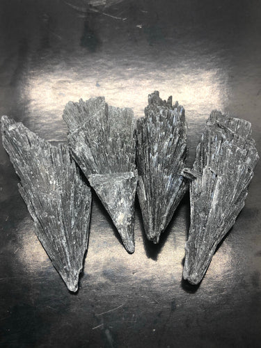 Black Kyanite Fan Pack of 4 ~ energy & space cleansing, cutting cords, chakra healing & meditation