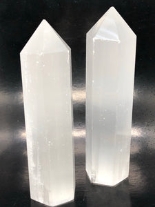 Selenite Generator Points (large)~ connect to your guides, clarity, cleansing, activates 3rd eye & crown chakras (4)