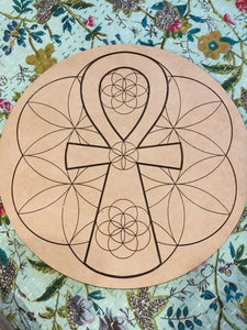 Crystal grid, 30cm ~ The Ankh (the breath of life & eternal flow of life)