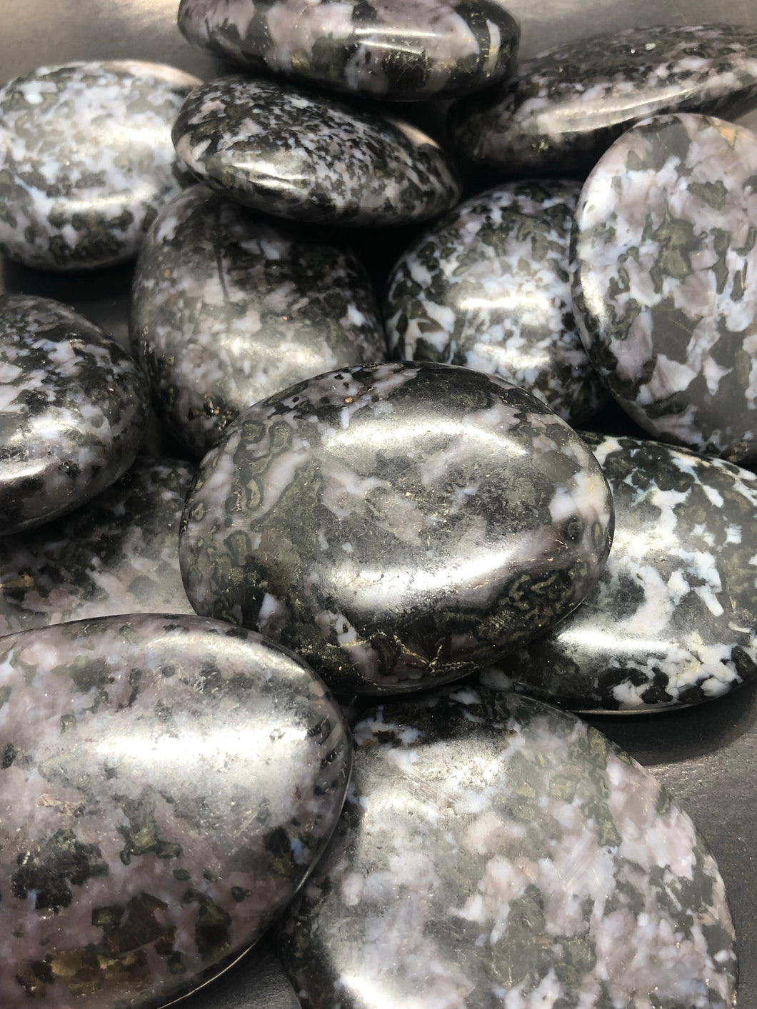 Merlinite Gallets (palm stones) ~ magic, abundance, intuition, past life recall, elemental & dimensional connections