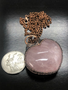 Puff Rose Quartz Heart Necklace ~ Unconditional love, kindness, compassion, support & forgiveness (#4)