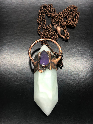 Smithsonite & Amethyst Necklace ~ Extreme Calm, soft, gentle, kind, loving & supportive (#1)