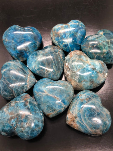 Rare Blue Apatite Hearts (small) ~ clears confusion & negativity, aura cleanser & access Akashic records (1)