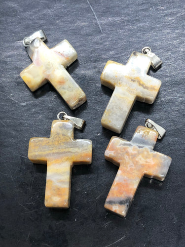 Agate Cross Pendant ~ harmonising energy, stability, warmth & confidence